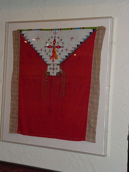 09 - Beadwork, Circa 1890 Sioux Cradle Beaded Cover, with bells, satin ribbons, tradecloth 1890