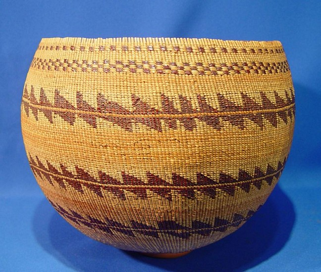 "02 - Indian Baskets, Antique Pomo Basketry: c. 1890 Large Storage Basket, Twined Bamtush (9.25"" ht x 11.5"" d) 1890"