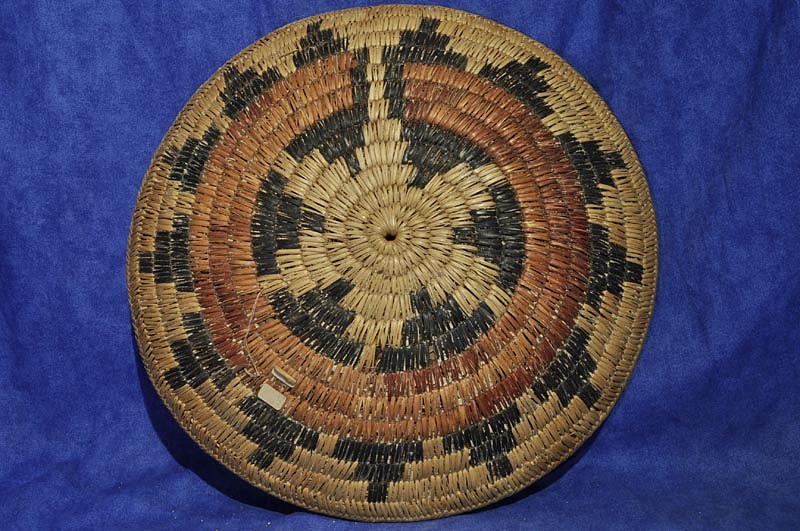 "02 - Indian Baskets, Navajo Basketry: c. 1950 Ceremonial Wedding Tray (13 3/8"" d) c. 1950"