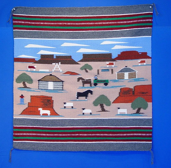 "01 - Navajo Textiles, Navajo Rug: c. 1980 Pictorial by Bertha Chee, ""Farm Life on the Reservation"" (35"" x 33.5"") 1980, Handspun wool"