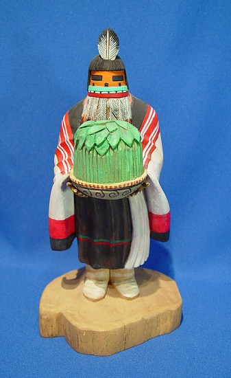 "05 - Kachinas and Dolls, Hopi Kachina: BOOK-PUBLISHED Harvest Mana by Leon Myron (9"") Hand Carved and Painted Cottonwood Root"