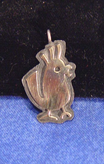 08 - Jewelry-New, Navajo 14K Gold bird pendant, on Sterling Silver Contemporary
