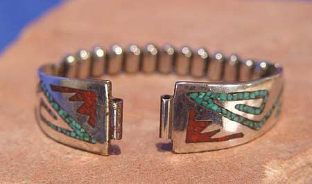 "08 - Jewelry-New, Navajo Watch Band: Chip Inlay, Turquoise and Coral (5"") c. 1970, Sterling Silver, Turquoise and Coral"
