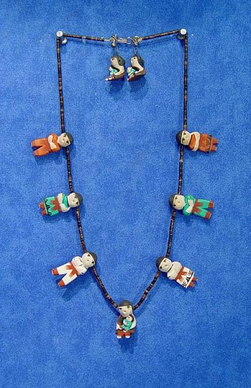 08 - Jewelry-New, Jemez or Santo Domingo Storyteller Earrings and Necklace Set 1970