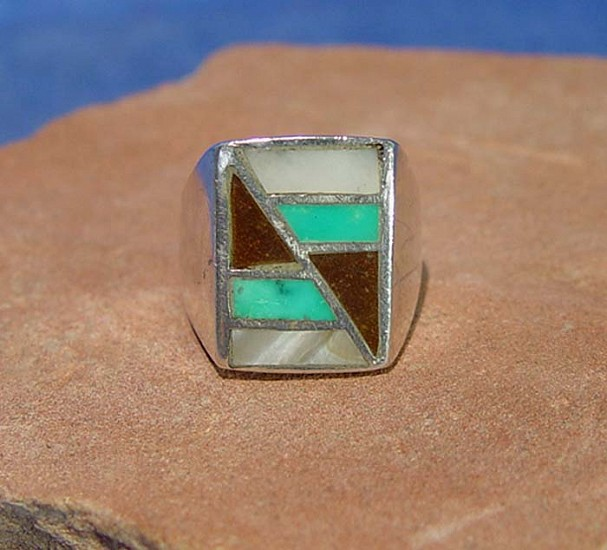 08 - Jewelry-New, Man's Zuni Ring - Sterling Silver, Shell and Turquoise inlay, Size 11 1980