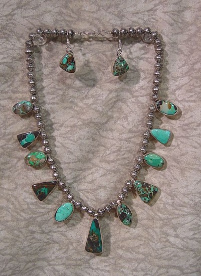 08 - Jewelry-New, Amazing Set: Navajo made  Necklace and Earrings, by  B. Johnson, High grade Carico Lake Turquoise Contemporary