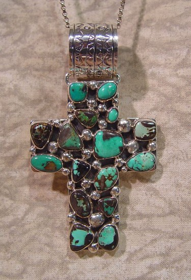 08 - Jewelry-New, Navajo Sterling Silver and Turquoise Pendant Contemporary