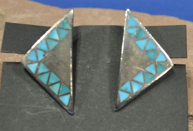 "07 - Jewelry-Old, Zuni Cufflinks: Triangular Form, Turquoise (1 5/8"") c. 1970, Sterling silver with inlaid stones"