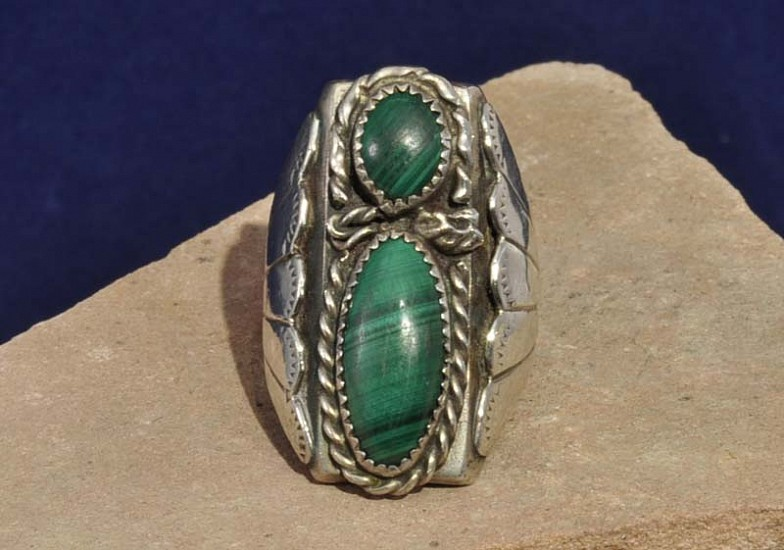 "08 - Jewelry-New, Navajo Sterling Silver and Malachite Ring, 2 Jade 9 3/4"" size 1980"
