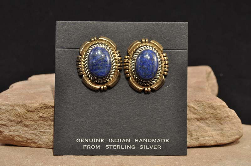 08 - Jewelry-New, Navajo earrings with fine lapis settings. 1/20 12K GF and sterling silver by Ray Denne 1990