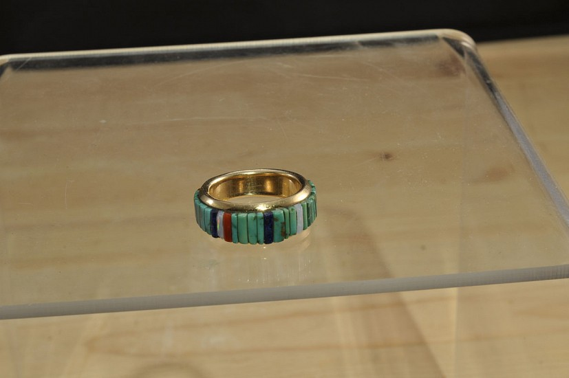 08 - Jewelry-New, Navajo Gold ring with inlaid stones by Phillip Russell and Fannie Bitsoi-Russll; turquoise, lapis, coral, opal 1985