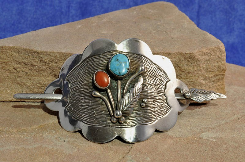 "07 - Jewelry-Old, Navajo Hair Barrette by Roy Vandever: Coral and Turquoise Settings (2"" x 3"") c. 1980, Sterling Silver, Turquoise and Coral"