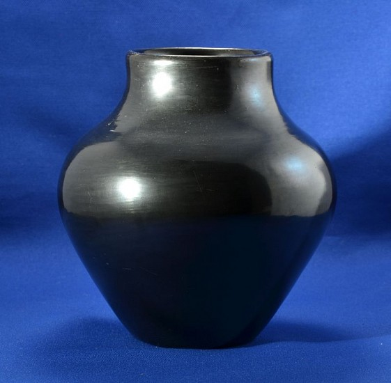 "04 - Maria Martinez, Maria Martinez Pottery, Maria Poveka: Polished Blackware Jar (7.25"" ht x 7.25"" d) Hand coiled clay pottery"