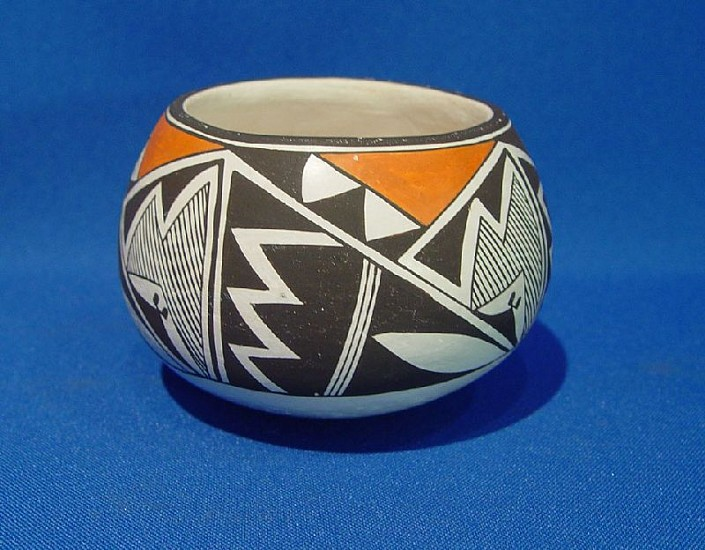 "03 - Pueblo Pottery, Acoma Pottery: c. 1980 Jar by Emma Lewis (2.75"" ht x 3.75"" d) c. 1980, Hand coiled clay pottery"