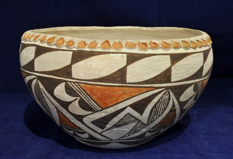 "03 - Pueblo Pottery, Acoma/Laguna Pottery: c. 1940 Polychrome Bowl, Pie Crust Rim (5.5"" ht x 9"" d) c. 1940, Hand coiled clay pottery"