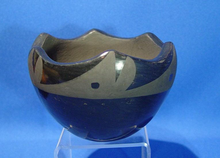 "03 - Pueblo Pottery, San Ildefonso Pottery: Blackware by Becky Vigil, Jagged Rim (3 1/2"" ht x 4 7/8"" d) c. 1970-1980, Hand coiled clay pottery"