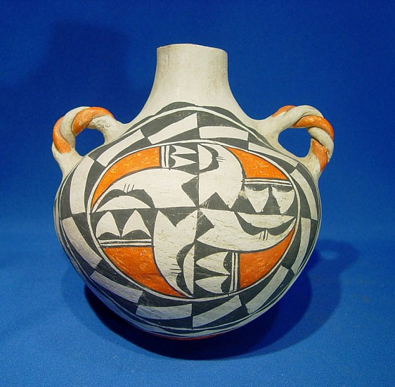 "03 - Pueblo Pottery, Acoma Pottery: c. 1950 Polychrome Canteen (8"" x 8"") c. 1950, Hand coiled clay pottery"