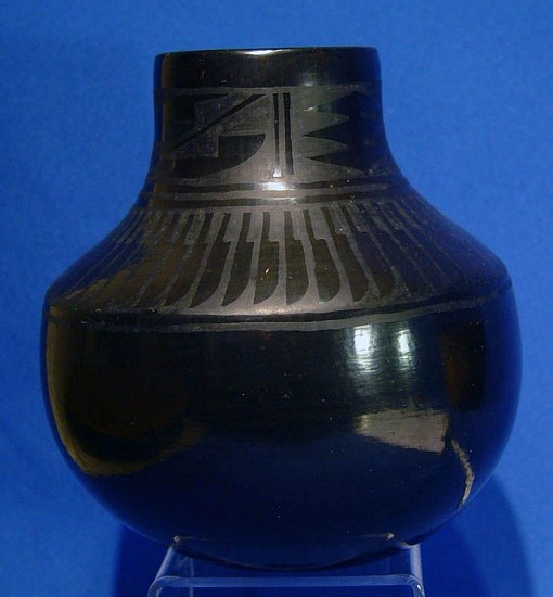 "03 - Pueblo Pottery, San Ildefonso Pottery: c. 1970 Blackware by Florence Naranjo, Feather Motif (5.75"" ht x 5.25"" d) c. 1970, Hand coiled clay pottery"