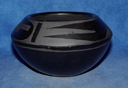 "03 - Pueblo Pottery, San Ildefonso Pottery: c. 1960 Blackware Bowl (3"" ht x 5"" d) c. 1960, Hand coiled clay pottery"