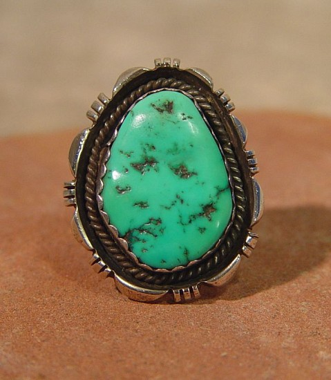 "07 - Jewelry-Old, Navajo Sterling Silver and Turquoise ring, Size 12, Hallmarked ""SY"", Steve Yellowhorse 1985, Sterling Silver and Turquoise"