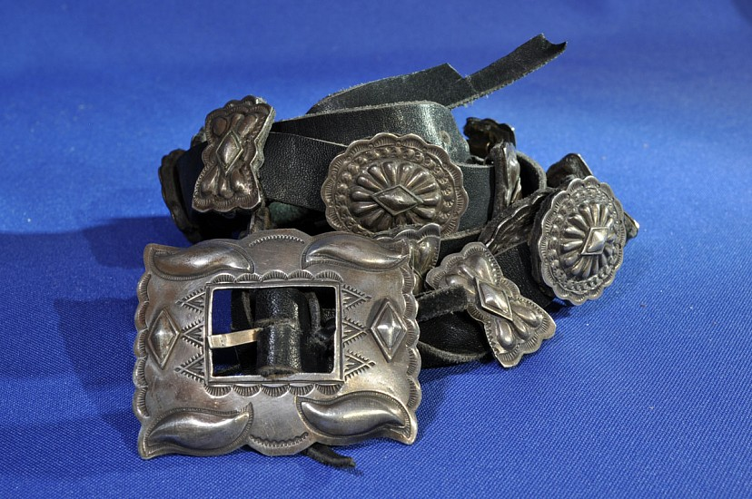 "07 - Jewelry-Old, Navajo Concho Belt, Hallmarked ""MR"": Conchos and Butterflies, Sterling Silver (43"") c. 1950-1970, Sterling silver"