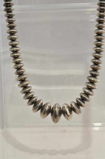 08 - Jewelry-New, Graduated Sterling Silver beaded necklace, Navajo Indian Sterling silver