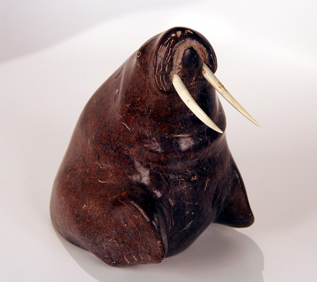 10 - Pacific Northwest, Eskimo Carving: Walrus with Rare Red Serpentine