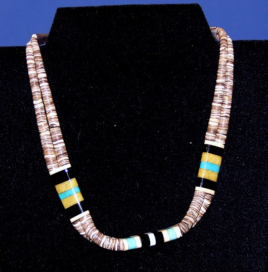 08 - Jewelry-New, Shell Heishi Necklace 2 Strands by Ernest Medina