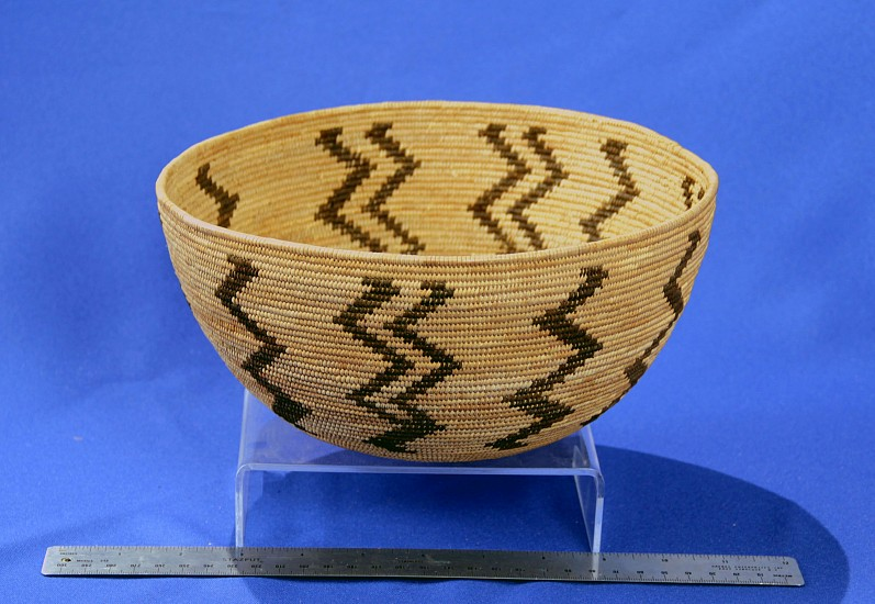 "02 - Indian Baskets, Antique Mono Basketry: c. 1910-1925 by by Molly Chepo (Northfork Rancheria, Western Mono/Monache), Lightning Motif (9.25"" ht x 4.5"" w) c. 1910-1925, Sedge root, brackenfern root"