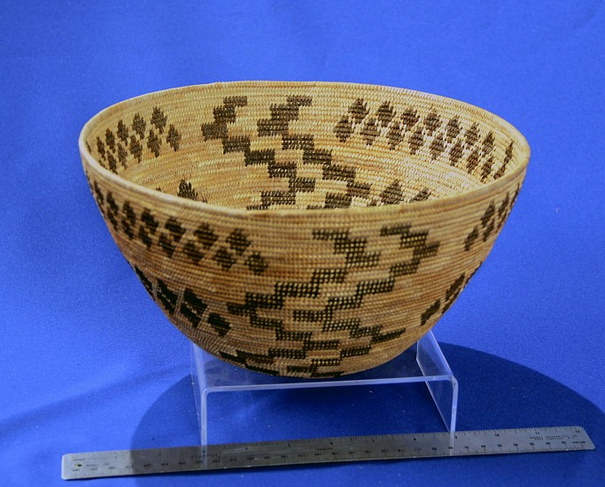 "02 - Indian Baskets, Antique Mono Basketry: c. 1910-1925 Open Bowl by ""Old Noonie"" (Northfork Rancheria, Western Mono/Monache), Snake Bands, Lightning Motif (10.75"" ht x 5.25"" w) c. 1910-1925, Sedge root, brackenfern root"