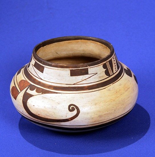 "03 - Pueblo Pottery, Important Antique Hopi Pottery: c. 1900-1920 Polychrome Jar, Unsigned, Possible Nampeyo (5"" ht x 8"" d) c. 1900-1920, Hand coiled clay pottery"