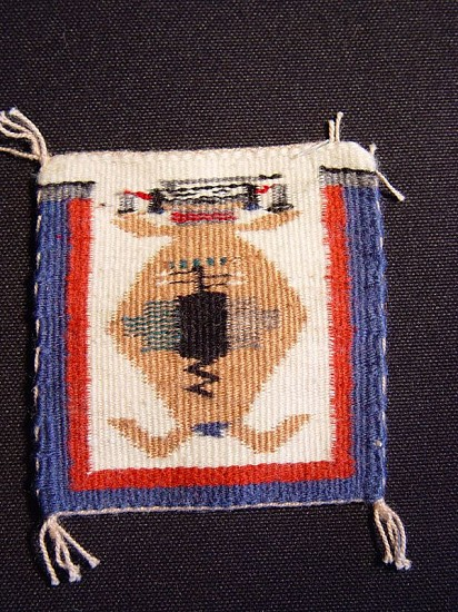 "01 - Navajo Textiles, Miniature Navajo Rug: ""Mother Earth"" Sandpainting Motif by Lula Brown (4"" x 4"") 2000, Handspun wool"