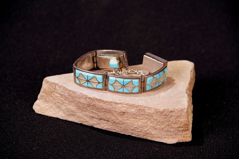 "08 - Jewelry-New, Link Bracelet by Florentine Panteah: Inlaid Turquoise and Mother of Pearl, with Chain and Clasp (6.25"" clasped) Sterling silver with inlaid stones"