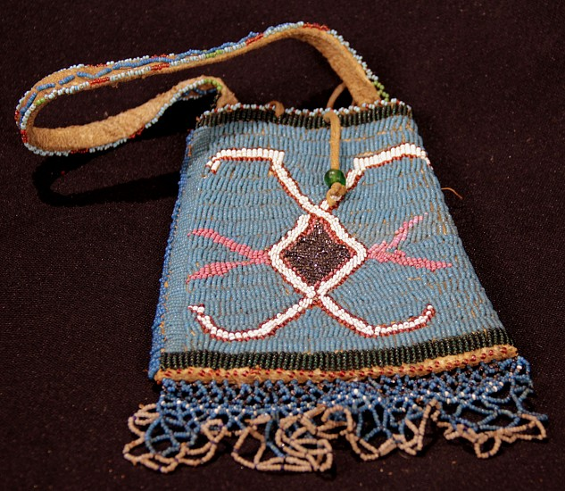 "09 - Beadwork, Antique Plateau Bead Tobacco Pouch /Strike-a-lite Bag with handle circa 1880-1920, collected Pre-1920 at Black Fur Trading Post , Billings MT, 8"" plus handle 1880-1920"