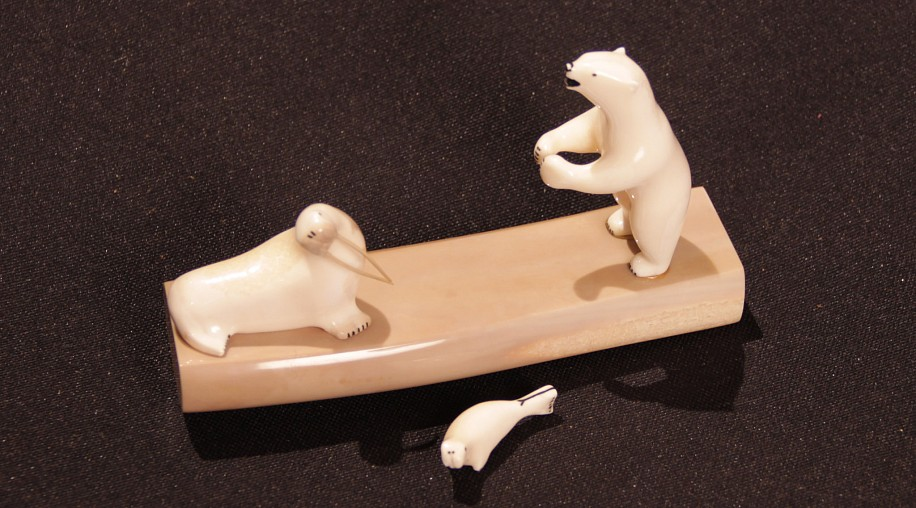 10 - Pacific Northwest, Bone Based Ivory Carving: Polar Bear, Walrus, and Pup