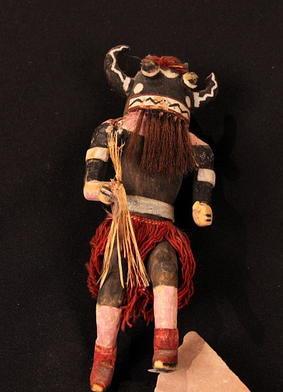 "05 - Kachinas and Dolls, Antique Hopi Kachina: Hu or Whipper, Black Ogre, with Tag (9.5"") c. 1940-1950, Hand Carved and Painted Cottonwood Root"