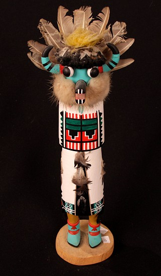 "05 - Kachinas and Dolls, Antique Hopi Kachina: Zuni Shalako (12.5"") c. 1940-1950, Hand Carved and Painted Cottonwood Root"