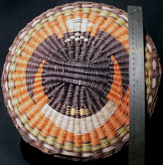 "02 - Indian Baskets, Hopi Basketry: Polychrome Wicker Tray, Eagle Motif (12"" d)"