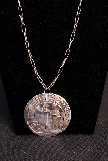 "07 - Jewelry-Old, Hopi Pin/Pendant Necklace by Master Silversmith Lawrence Saufkie: Kokopelli and Kiva (2.5"" d) c. 1970s, Sterling silver"