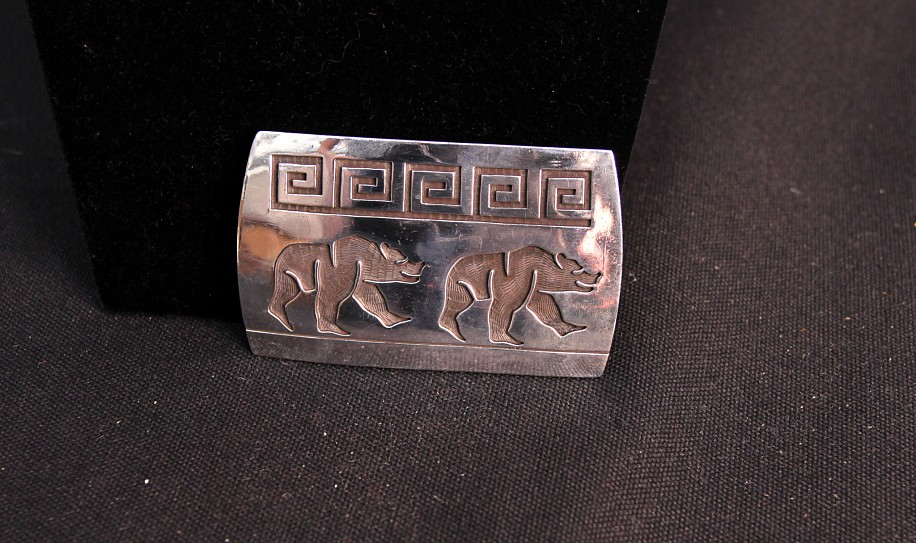 "08 - Jewelry-New, Hopi Belt Buckle by Master Silversmith Lawrence Saufkie: Two Bears Motif (2"" x 3"") c. 1970s, Sterling silver"