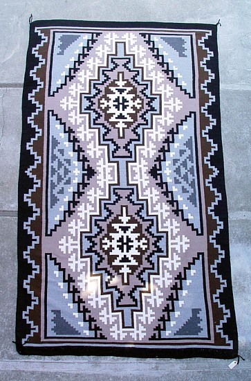 "01 - Navajo Textiles, HUGE Navajo Rug: Two Grey Hills by Regina Bia, Mint Condition (about 6' x 10', 70"" x 121"") 1990, Handspun wool"