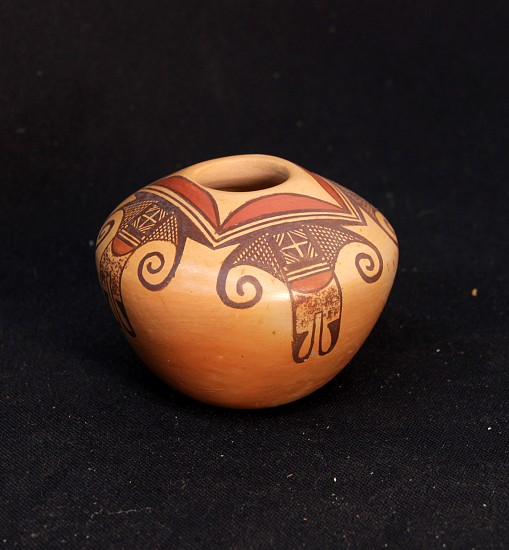 "03 - Pueblo Pottery, Hopi Pottery: 1980 Polychrome Jar by Darlene Nampeyo, Sikyatki Inspired Motifs, Abstract Birds (3.5"" ht x 4"" d) c. 1980, Hand coiled clay pottery"