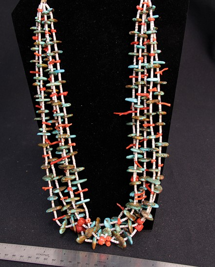 08 - Jewelry-New, Santo Domingo 5 Strand Branch Coral and Turquoise Nugget Necklace c.1970s