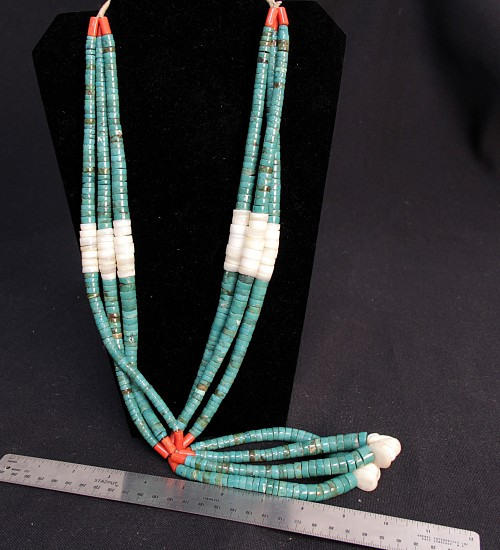"08 - Jewelry-New, 28"" + 6"" jaclas Santo Domingo Turquoise Heishi Necklace, attributed Charles Lovato c.1970s"