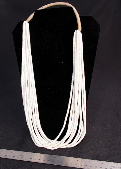 08 - Jewelry-New, TEN (10) Strand White Bone Necklace by Richard Aguilar c 1970s c.1970s