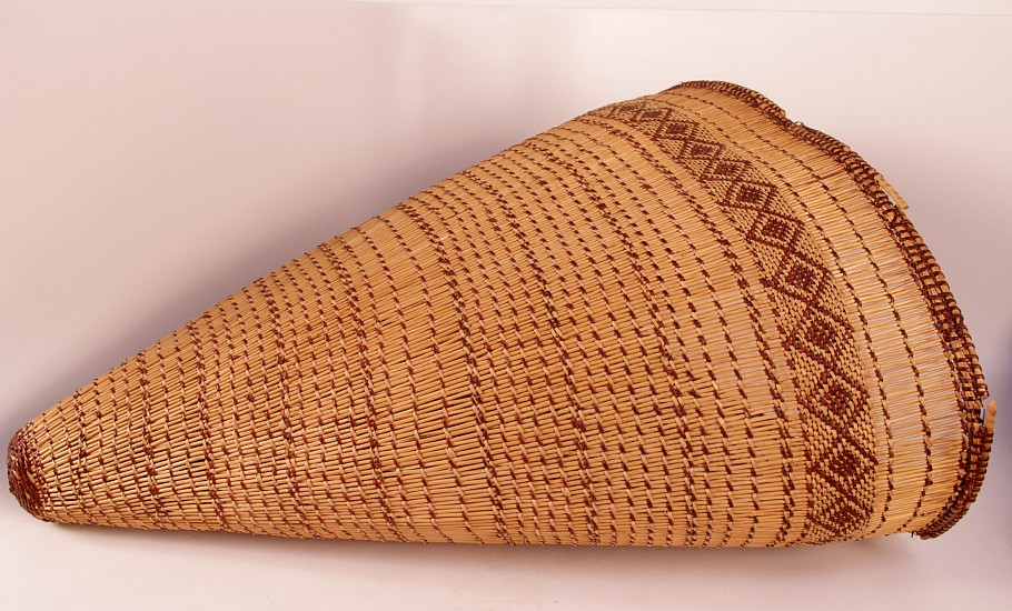 "02 - Indian Baskets, Pomo Basketry: Mid-20th c. Burden Basket (25"" l x 20"" d)"