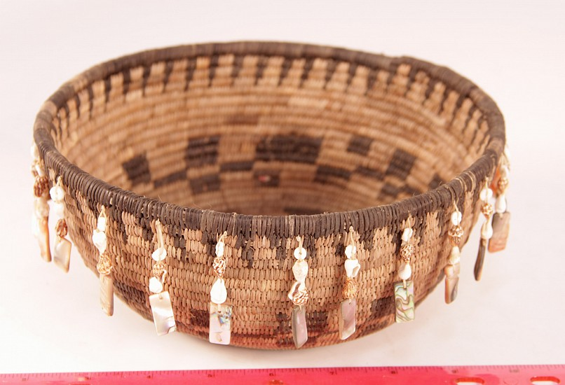 "02 - Indian Baskets, Pomo Basketry: c. 1980 by Enrique Arroyo, with Shells (3.5"" ht x 8"" d) c. 1980"