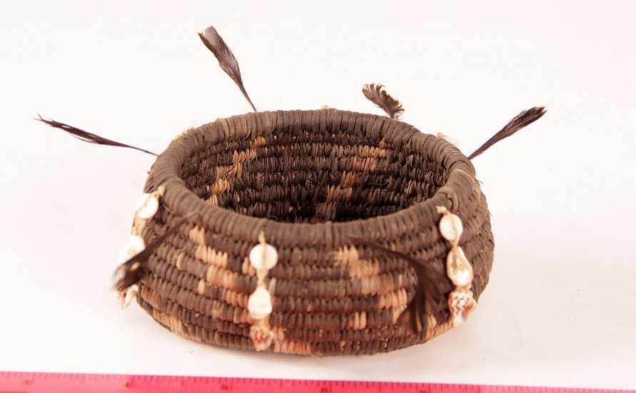 "02 - Indian Baskets, Pomo Basketry: by Enrique Arroyo, with Shells, Top Knots, Reverse Stitched (1 3/4"" ht x 3 3/4"" d)"