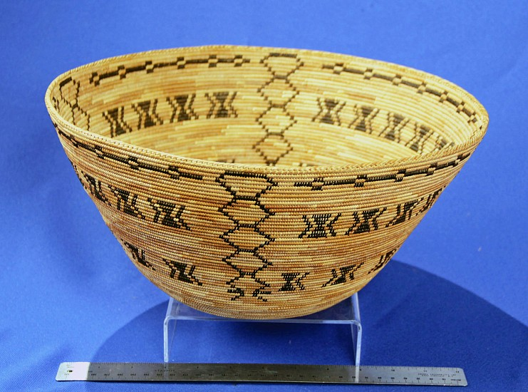 "02 - Indian Baskets, Antique Mono Basketry: c. 1900-1925 Large Acorn Feast Bowl with Motifs of Diamondback Rattlensake, Centipede, Coyote Tracks, from Northfork Rancheria (13 3/8"" ht x 6 1/2"" w) c. 1900-1925, Sedge root, brackenfern root, and redbud"