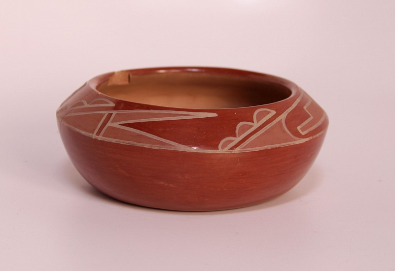 "03 - Pueblo Pottery, San Ildefonso Redware Pottery by Rose Gonzales (1900-1989) 6"" x 2"" c. 1950's, Hand coiled clay pottery"